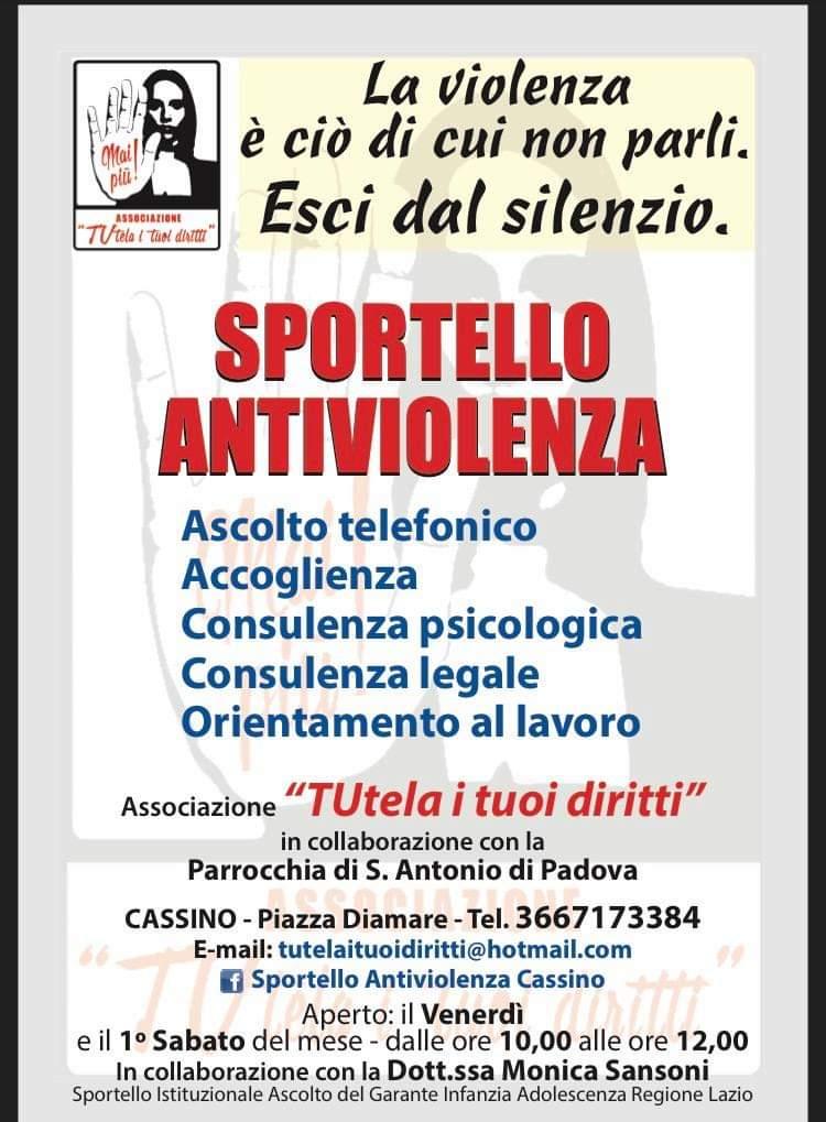 TUtela i tuoi diritti: Sportello Antiviolenza Cassino e Sportello Istituzionale Ascolto MinoriLatina