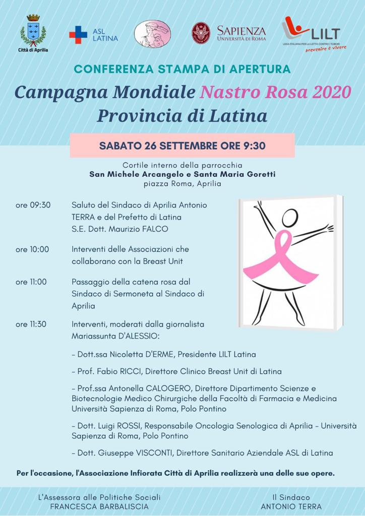 TUMORE AL SENO: APERTURA DELLA CAMPAGNA MONDIALE NASTRO ROSA2020